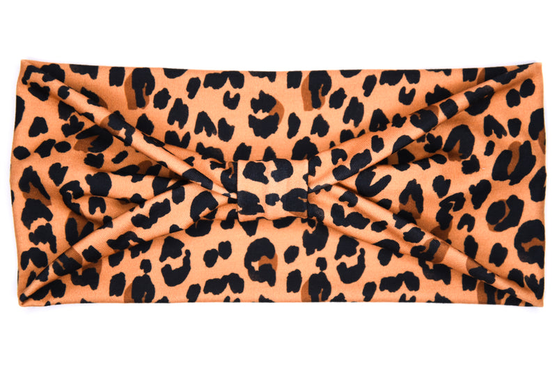 Wide Bow - Leopard Print on Tan