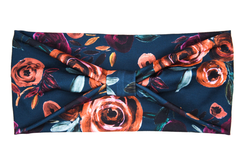 Wide Bow - Autumn Rose on Dark Teal