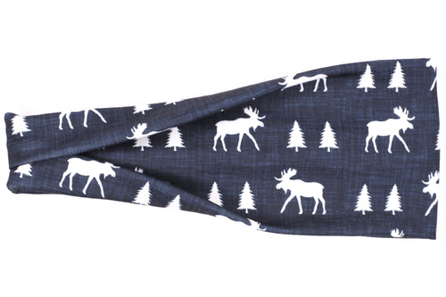 Modern Jersey Tri-Fold - Moose Trees on Charcoal