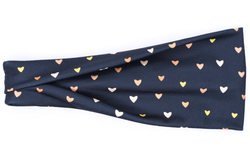 Modern Jersey Tri-Fold - Gold Hearts on Charcoal