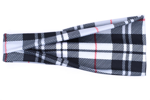 Modern Jersey Tri-Fold - Red, Black & White Plaid