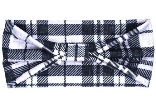 Wide Bow - Charcoal Grey Plaid