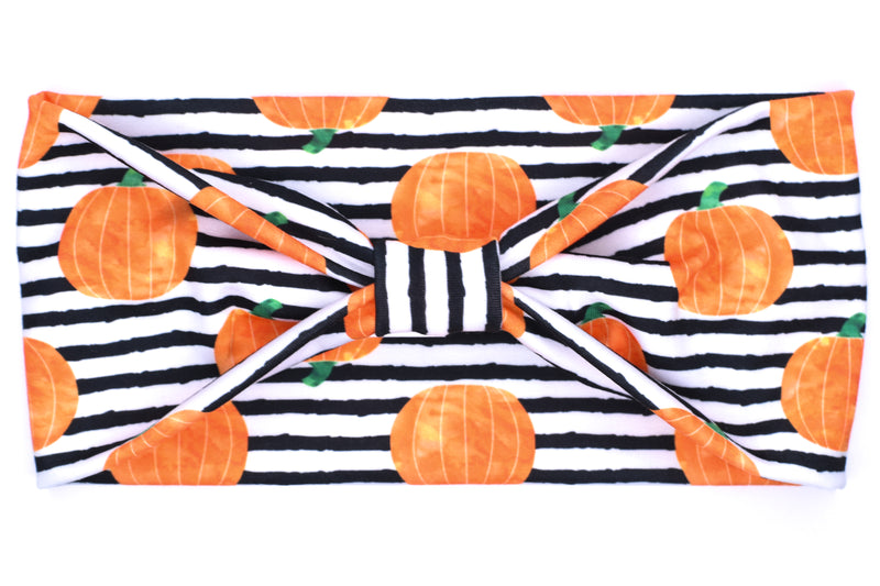 Wide Bow - B&W Striped Pumpkin