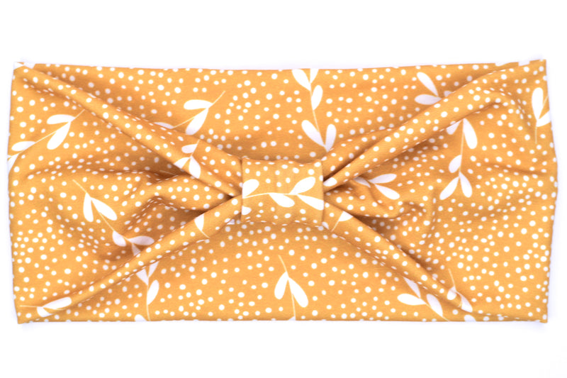 Wide Bow - Leaves & Dots on Mustard