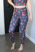 High Rise Printed Leggings - Final Sale - Roses on Grey