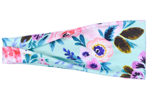 Modern Jersey Tri-Fold Headband - Watercolor Flower on Light Teal