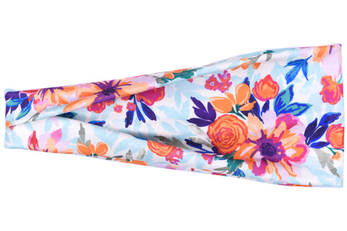 Modern Jersey Tri-Fold Headband - Orange Purple Flower
