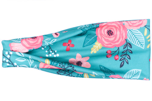 Modern Jersey Tri-Fold Headband - Say You Love Me Teal