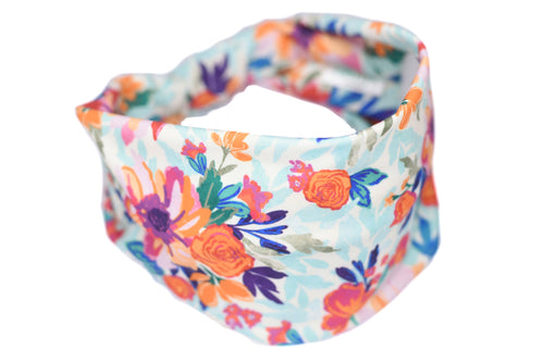 Wide Bow Headband - Orange Purple Flower