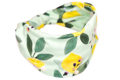 Wide Bow Headband - Lemon Tree Floral