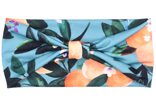 Wide Bow Headband - Orange Tree Dark Teal