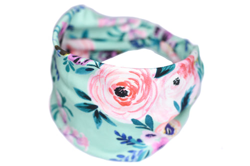 Wide Bow Headband - Watercolor Flower on Light Teal