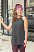 High Neck Flowy Tank - Dark Grey