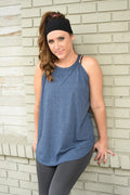 High Neck Flowy Tank - Navy Frost