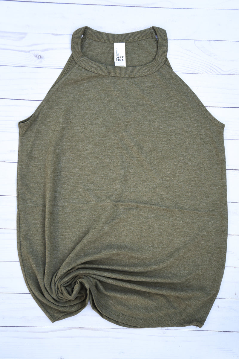 High Neck Flowy Tank - Military Green