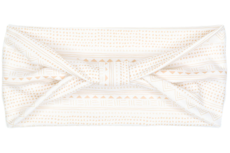 Wide Bow - Boho Mudcloth Pink & White
