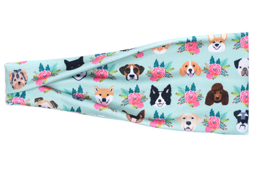 Modern Jersey Tri-Fold - Dogs, Cats & Flowers