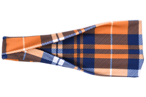 Modern Jersey Tri-Fold - Blue & Orange Plaid