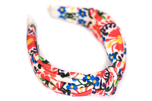 Twisted Knot Headband - Mexican Embroidery Cream