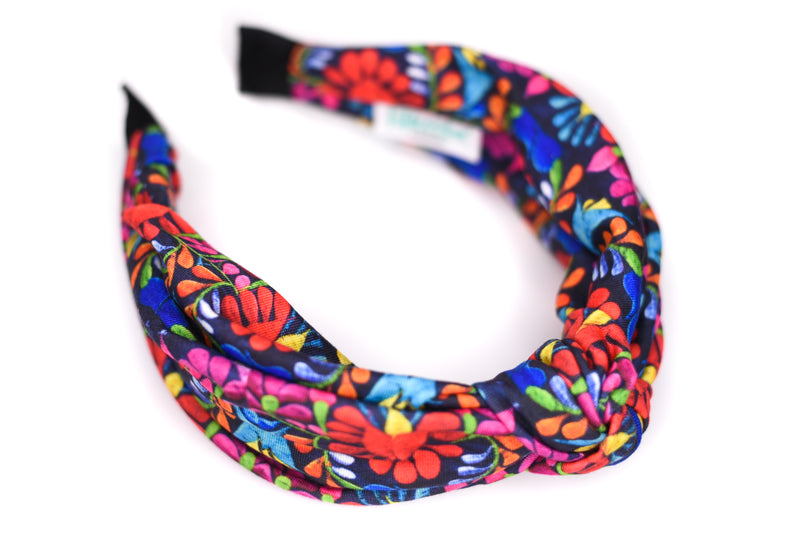 Twisted Knot Headband - Mexican Embroidery Dark
