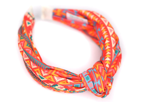 Twisted Knot Headband - Red & Orange Aztec