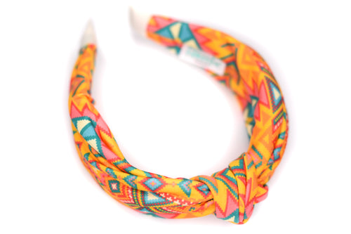 Twisted Knot Headband - Orange & Yellow Aztec