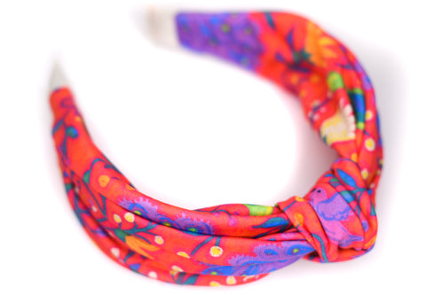 Twisted Knot Headband - Fiesta Feathers on Red & Orange