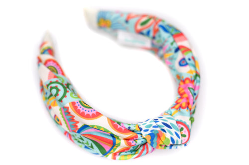 Twisted Knot Headband - Español Colors on Light Blue