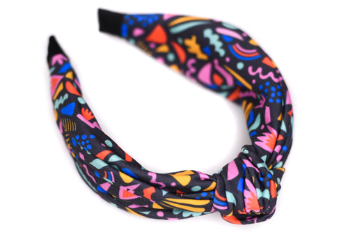 Twisted Knot Headband - Funfetti on Black