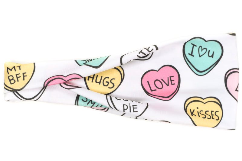Modern Jersey Tri-Fold - Sweet Candy Hearts on White
