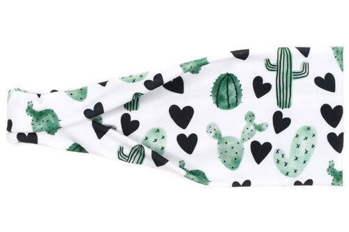 Modern Jersey Tri-Fold - Cactus & Black Hearts on White