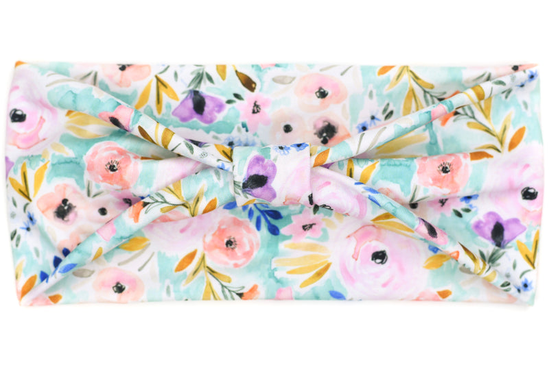 Wide Bow - Pastel Watercolor Floral on Light Teal