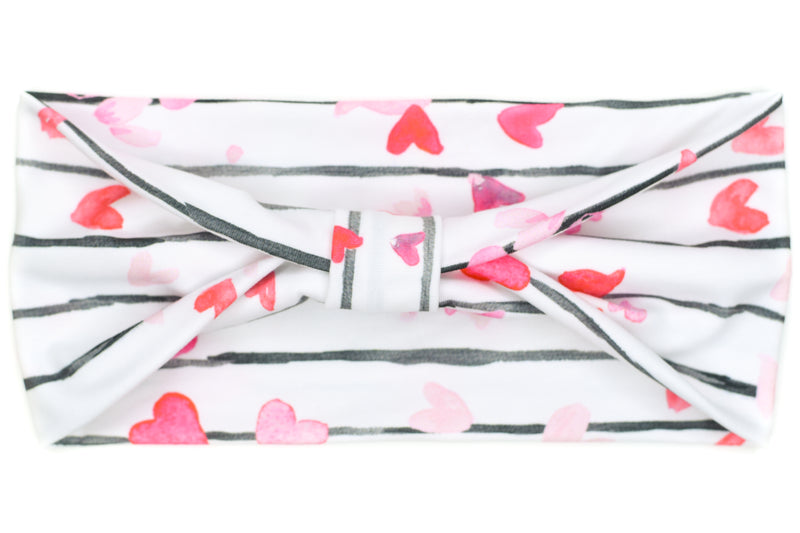 Wide Bow - Black Stripes, Red & Pink Hearts