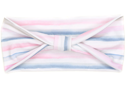 Wide Bow - Watercolor Stripe Pink & Light Blue
