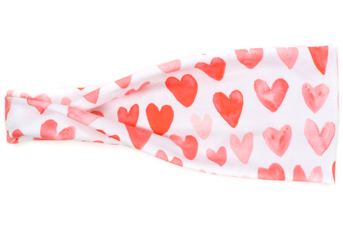 Modern Jersey Tri-Fold - Watercolor Red Hearts on White