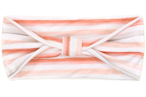 Wide Bow - Watercolor Stripes Pink & Peach