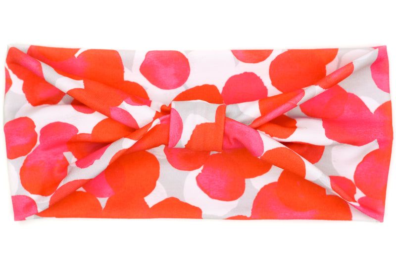 Wide Bow - Red & Pink Large Dots