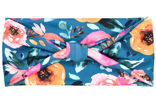 Wide Bow - Peacock Blue Floral