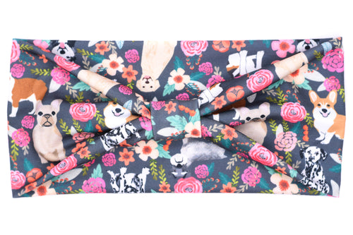 Wide Bow - Doggies Floral
