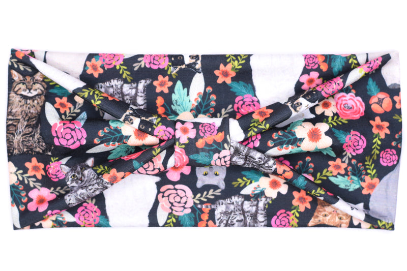 Wide Bow - Kitty Cats Floral