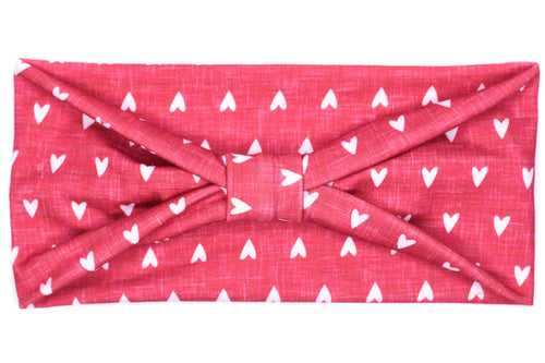 Wide Bow - Little Hearts Heather Red