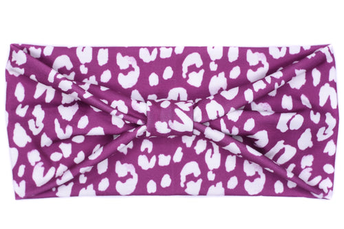 Wide Bow - Leopard Print on Purple