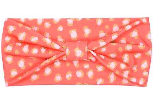 Wide Bow - Coral Pink Leopard Print