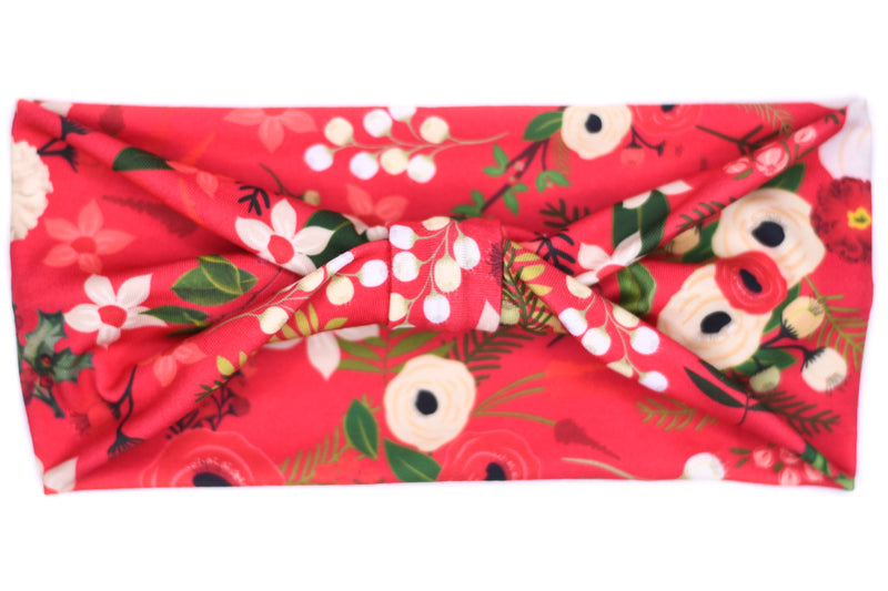 Wide Bow - Holiday Floral Holly on Red