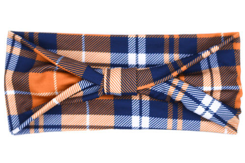 Wide Bow - Blue & Orange Plaid
