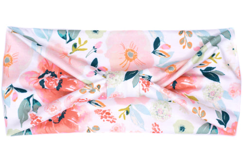 Wide Bow - Spring Pink Floral on White