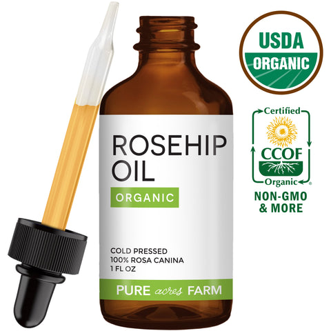 Rosehip Seed Oil - USDA Certified Organic - 1oz