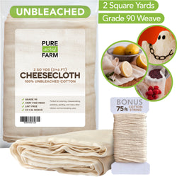 Cheesecloth - 2 Yards - Fine Weave: Grade 90 - 100% Unbleached Cotton - Filter - Strain - Reusable (Cotton String Included)