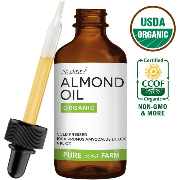 Sweet Almond Oil - USDA Certified Organic - 4oz