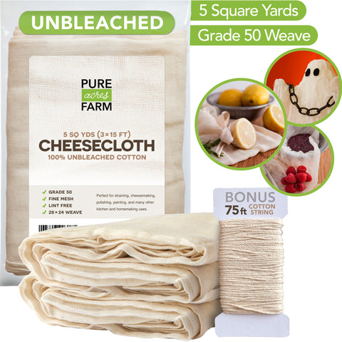 Cheesecloth - Grade 50 - 5 Yards/45 Sq Feet - 100% Unbleached Cotton - Cooking, Straining, Nut Milk Bag, Filter, Reusable Cheese Cloths Fabric